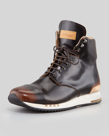 Fantasy Perforated Hi-Top Sneaker, Black/Tan