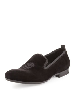 Alexander McQueen Velvet Skull Smoking Slipper, Black