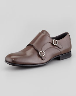 Alexander McQueen Double Monk-Strap Loafer, Gray
