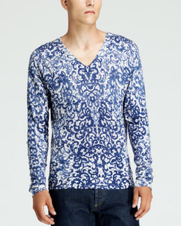 Alexander McQueen Lace-Print V-Neck Sweater, White/Blue