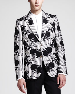 Alexander McQueen Rose Embroidered Cotton Jacket, Ivory/Black