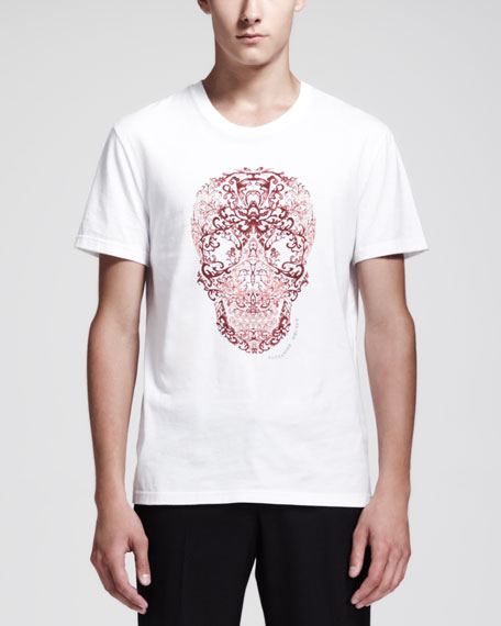 Lace-Skull-Print Short-Sleeve Tee, White/Red