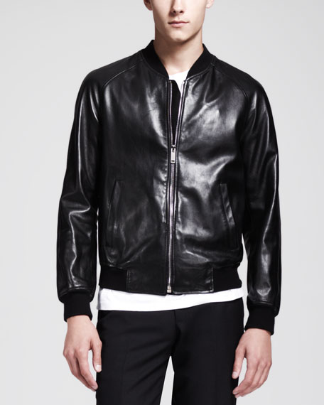 Skull-Embossed Leather Bomber Jacket, Black