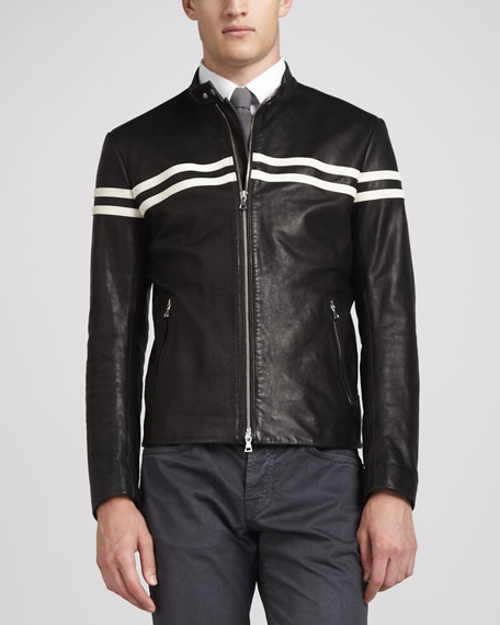 Contrast Striped Moto Jacket, Black