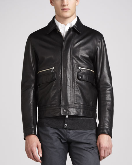 Leather Patch-Pocket Bomber Jacket, Black