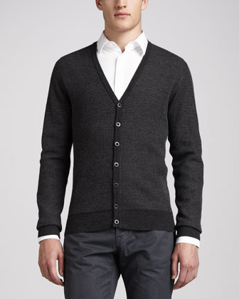Striped Thermal Cardigan, H.Coal