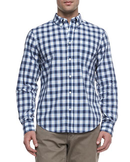 Vince Faded Check Long-Sleeve Shirt
