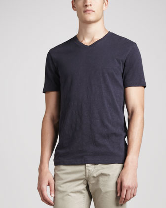Short-Sleeve Slub Tee, Navy