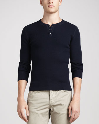 Long-Sleeve Thermal Henley Sweater, Navy