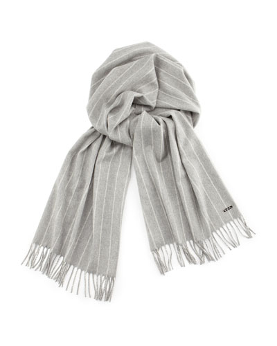 Men's Baby Cashmere Striped Scarf, Gray