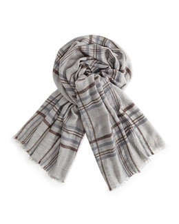 Loro Piana Banbury Cashmere-Silk Plaid Men's Scarf, Gray
