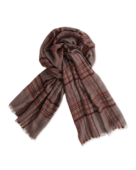 Banbury Plaid Men's Scarf, Brown