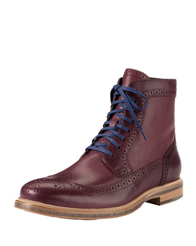 Cooper Square Wing-Tip Boot, Red