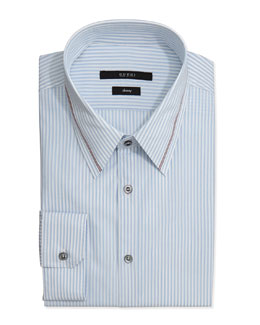 Gucci Skinny-Fit Striped Dress Shirt, Light Blue
