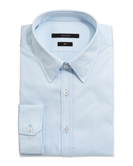 GG Weave Striped Dress Shirt, Light Blue