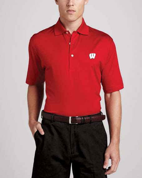 Peter Millar Wisconsin Gameday College Shirt Polo, Red