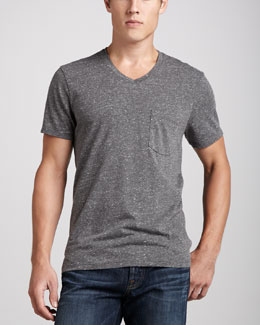 7 For All Mankind Jersey V-Neck Pocket Tee, Heather Gray
