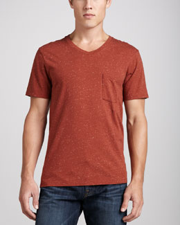 7 For All Mankind Jersey V-Neck Pocket Tee, Red