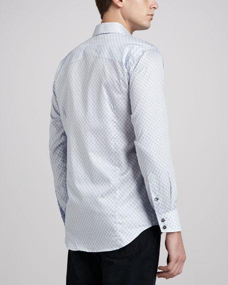 Giorgio Skull-Print Sport Shirt, Light Blue