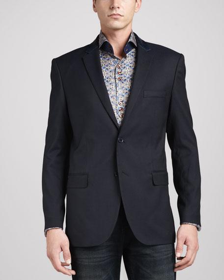 Leather-Trim Jacquard Sport Coat, Navy
