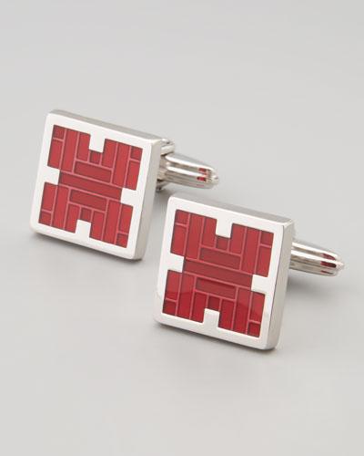 Lanvin Squared Red Enamel Cufflinks
