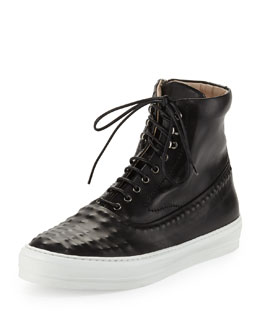 Alexander McQueen Riveted Leather High-Top Sneaker, Black