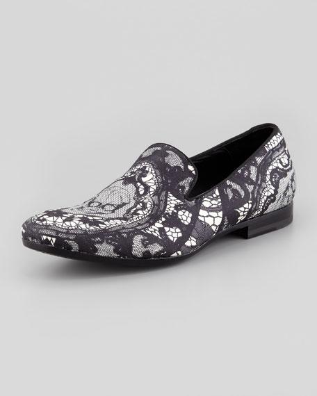 Men's Skull & Lace-Print Loafer, Black/White