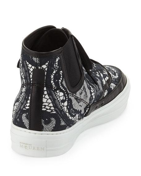 Lace & Skull-Print High-Top Sneaker, Black/White