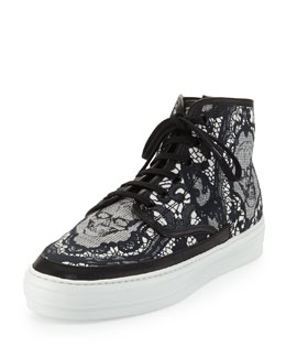 Alexander McQueen Lace & Skull-Print High-Top Sneaker, Black/White