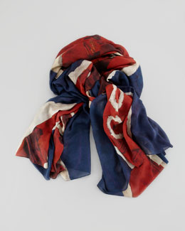 Alexander McQueen God Save McQueen Men's Scarf, Blue/Red