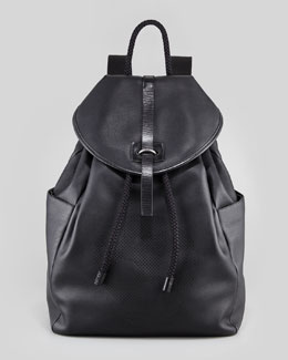 Alexander McQueen Perforated-Skull Leather Backpack, Black
