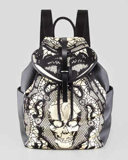 Alexander McQueen Skull & Lace-Print Leather Backpack