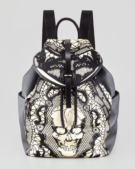 Skull & Lace-Print Leather Backpack