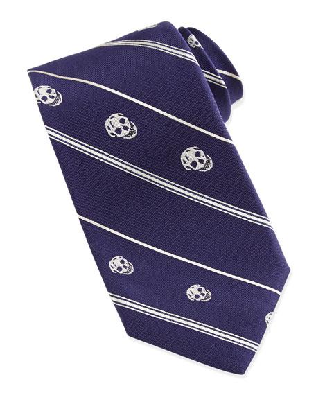 Skull-Print Silk Tie, Navy