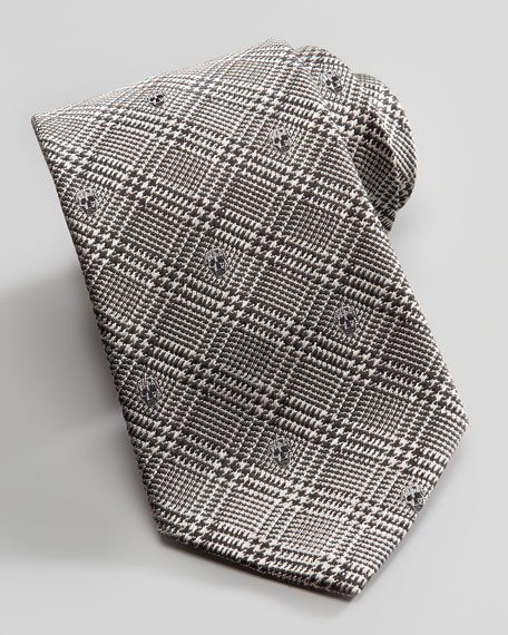 Skull Prince of Wales Check Silk Tie, Ivory/Black