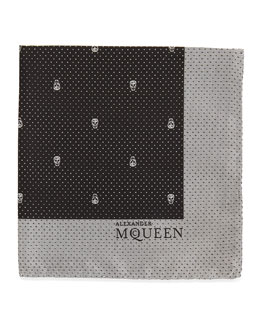 Alexander McQueen Skull Pindot Pocket Square, Black/White