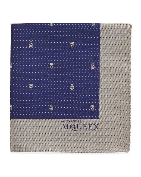 Skull Pindot Pocket Square, Navy/White