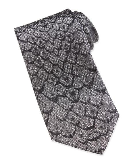 Python Print Silk Tie, White/Black