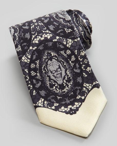 Skull-Lace-Print Silk Tie, Ivory/Black