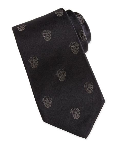 Skull-Print Silk Tie, Black/Ivory