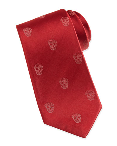 Alexander McQueen Skull-Print Silk Tie, Red