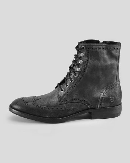 Hillcrest Wing-Tip Boot, Black