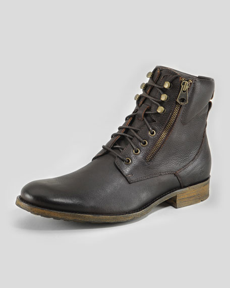 Campbell Short Lace-Up Boot, Dark Brown