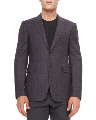 Wool Neat Sport Coat, Blue Carbon