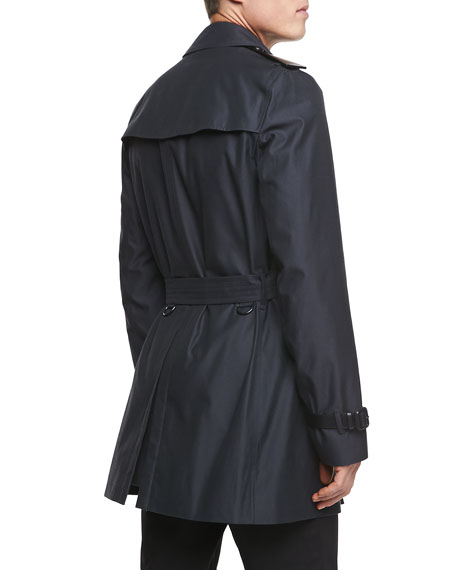 Leather-Trimmed Mid-Length Trench Coat