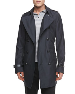 Burberry London Leather-Trimmed Mid-Length Trench Coat
