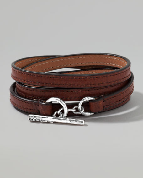 Men's Pelle Sterling-Toggle Leather 4-Wrap Bracelet in Brown, Size 3