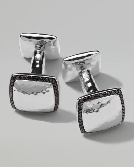 Sterling Silver Square Hammered Cuff Links with Black Diamonds