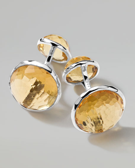 Sterling Silver Lollipop 2-Stone Cuff Links in Cognac Citrine