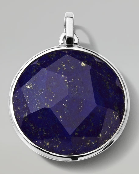Men's Sterling Silver Round Pendant in Lapis